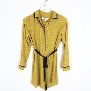 Loft | Yellow Long Sleeve Half Button Shirt Dress